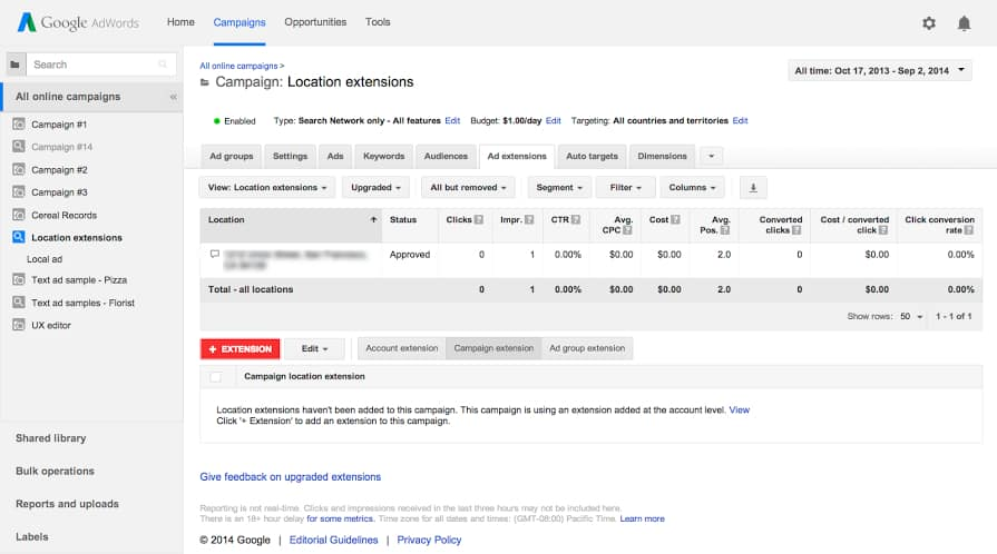 AdWords promoted pin location extension for franchises