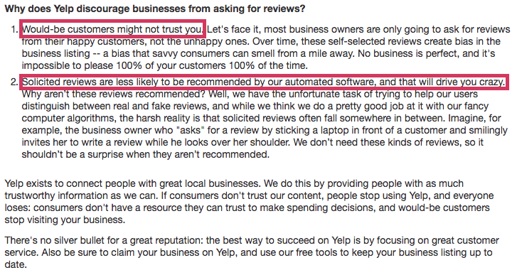 Yelp review terms and service