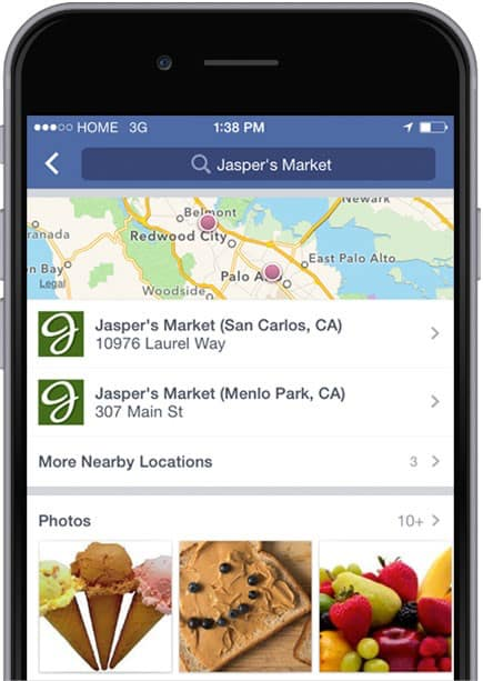 Facebook franchise location map