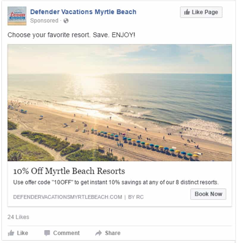 paid social advertising for resorts