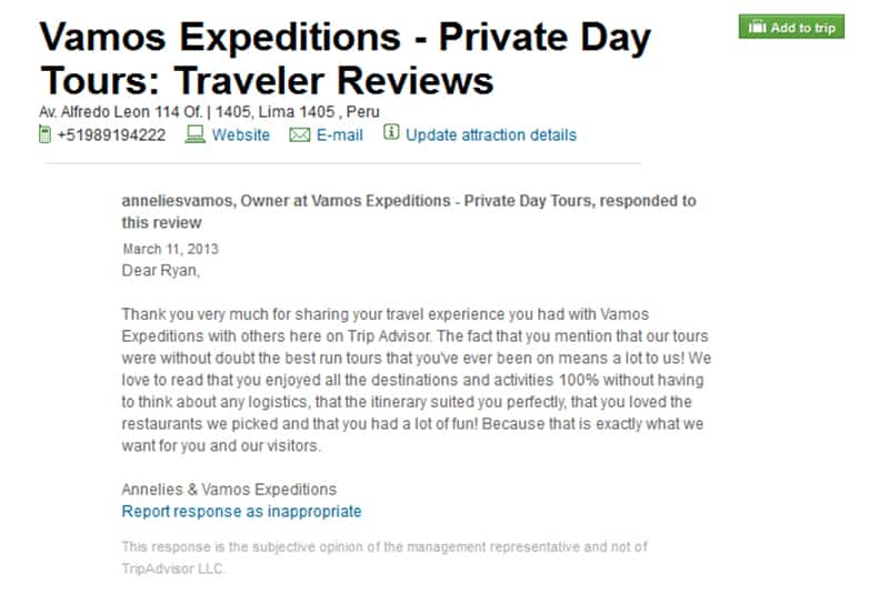 Good review on Trip Advisor