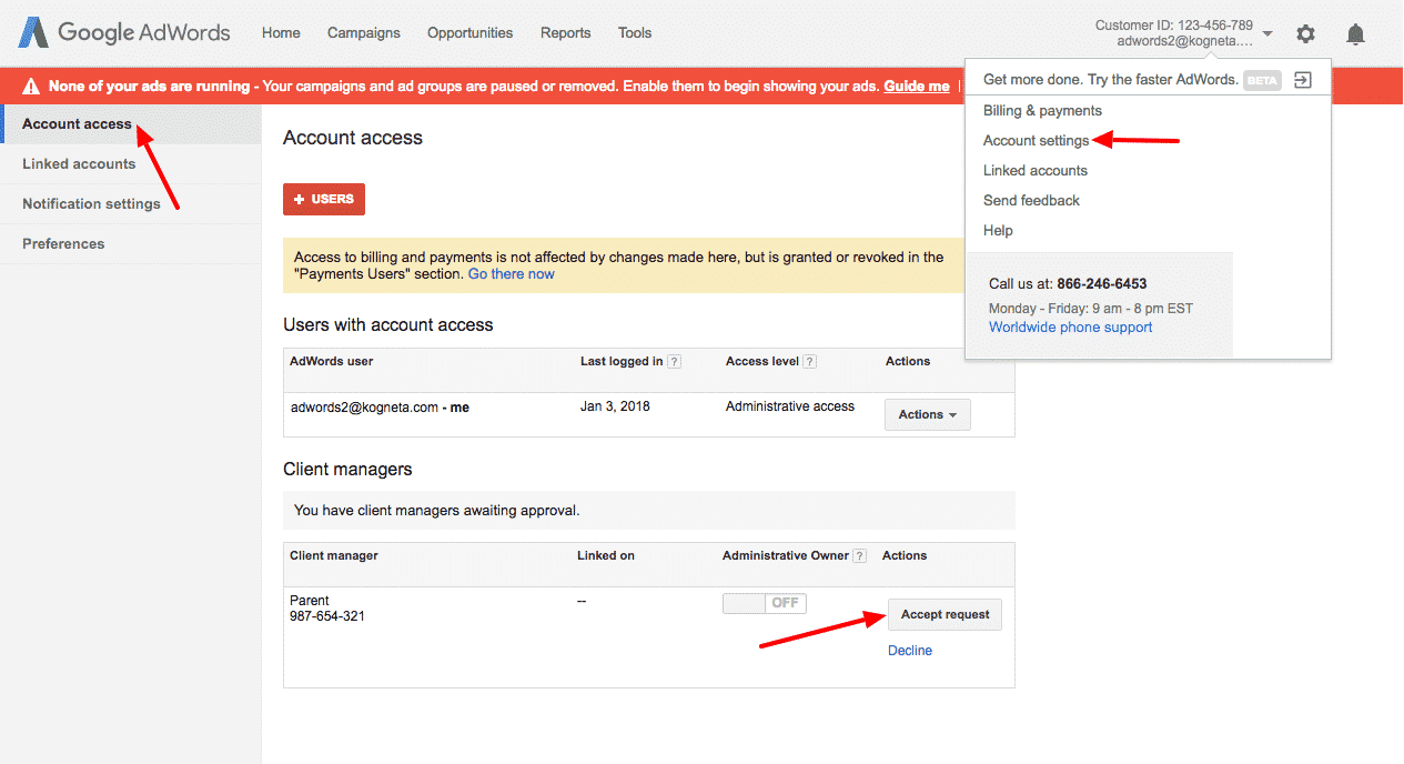 How to Setup Multiple AdWords Accounts for a Single Domain