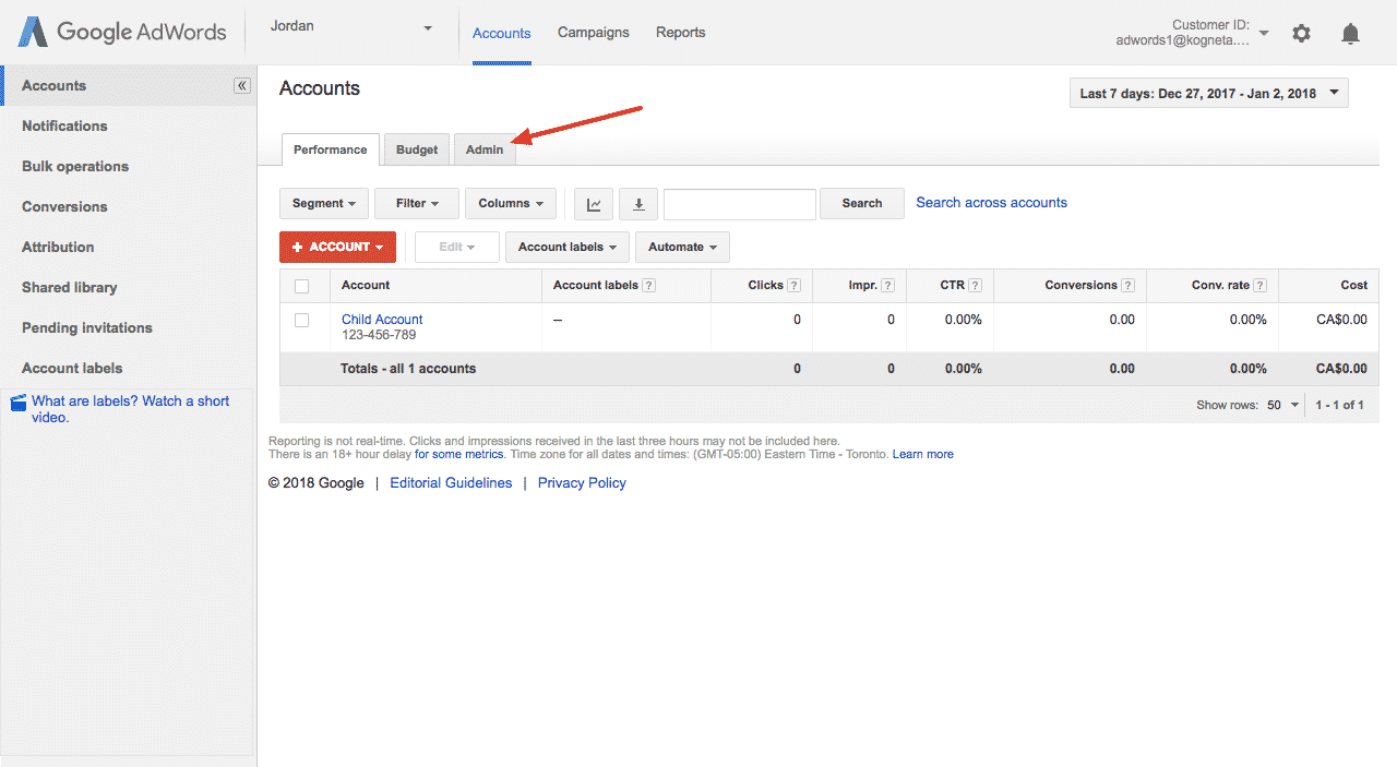 admin section of adwords